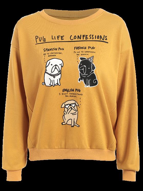 unique Pug Life Confession Graphic Sweatshirt - YELLOW L