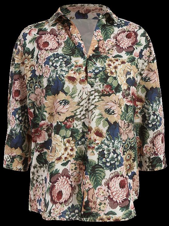 ladies Floral Vintage Shirt - GREEN M