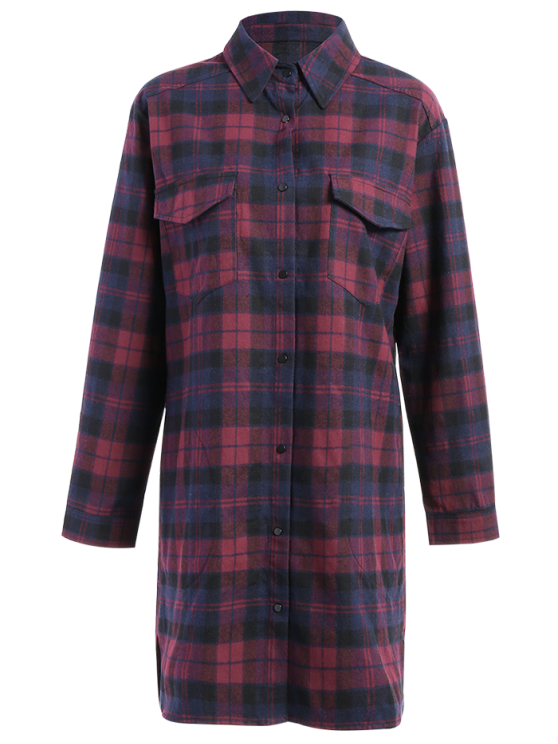 Plaid Flannel Shirt Dress With Pockets - COLORMIX S Mobile