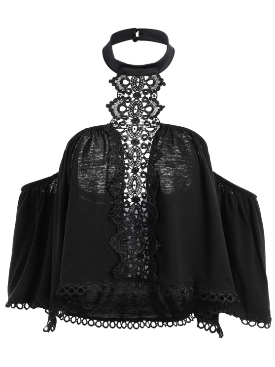 Cropped Choker Off The Shoulder Blouse Belly Shirts - BLACK S Mobile