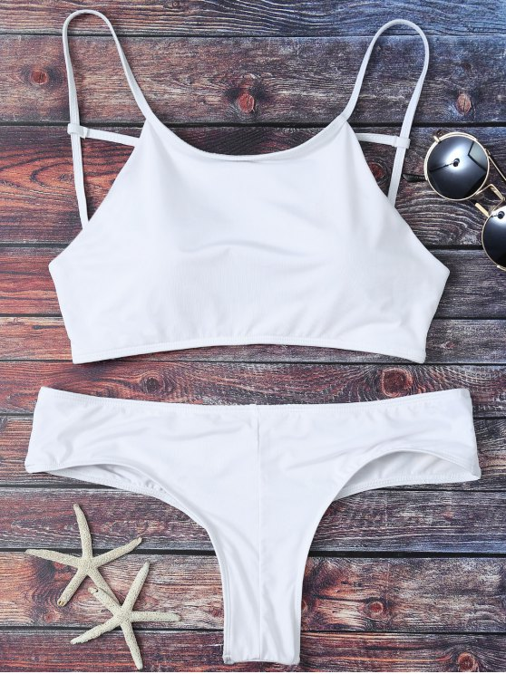 Mock Neck Spaghetti Strap Bikini Set - WHITE M Mobile