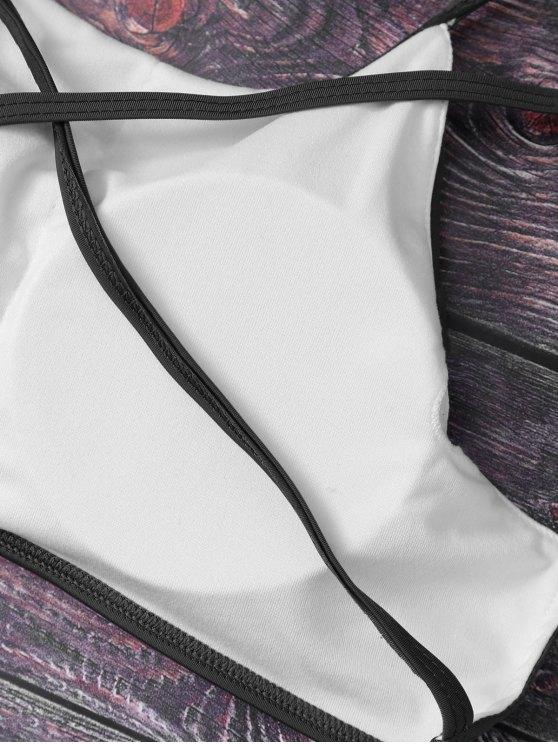 Mock Neck Spaghetti Strap Bikini Set - BLACK M Mobile