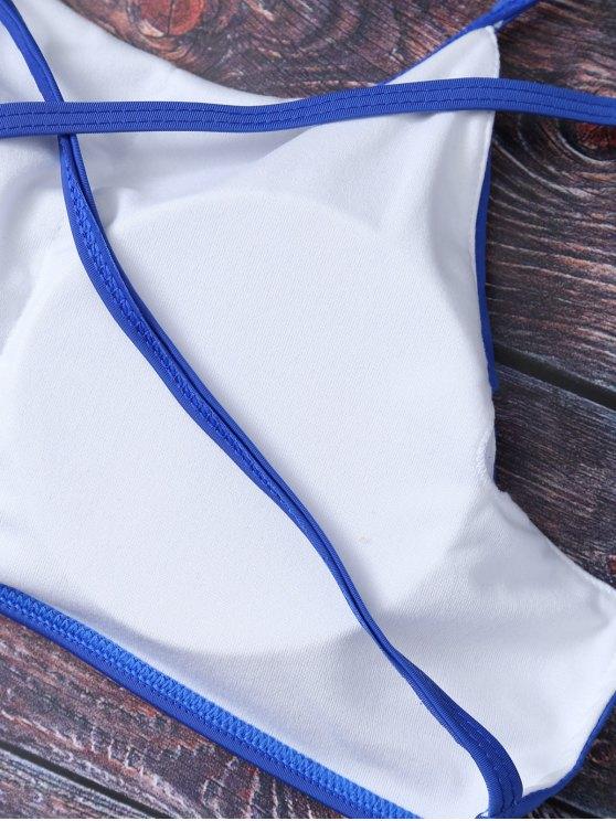 Mock Neck Spaghetti Strap Bikini Set - DEEP BLUE L Mobile