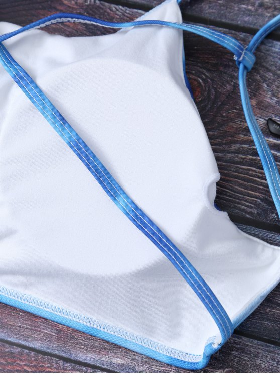 Ombre Criss Cross Bikini Set - DEEP BLUE S Mobile