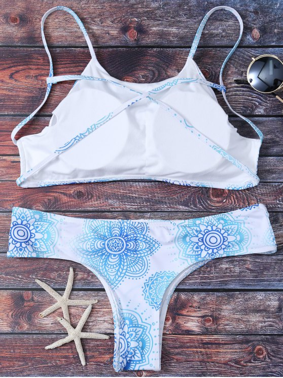 Criss Cross Printed Bikini Set - WHITE M Mobile
