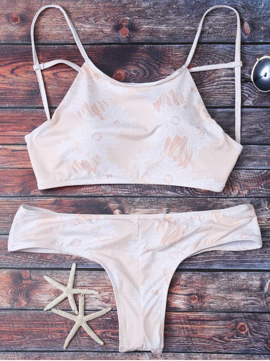 Criss Cross Printed Bikini Set - APRICOT S Mobile