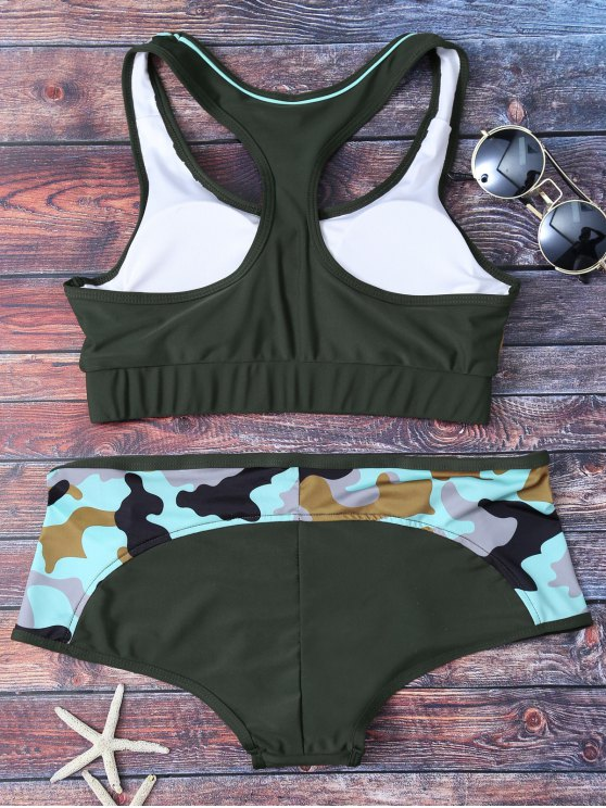 Racerback Camo Swimsuits - ARMY GREEN L Mobile