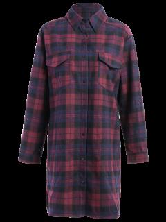 Plaid Flannel Shirt Dress With Pockets - M