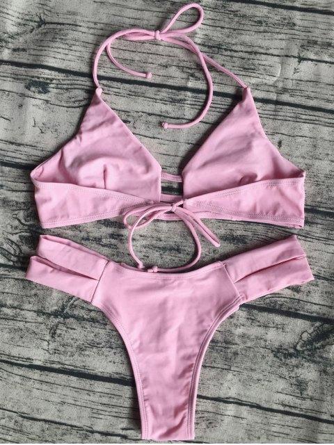 best Banded Unlined Halter Bikini - PINK L Mobile
