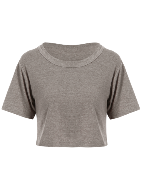 women Solid Color Short Sleeve Jersey Crop Top - DEEP GRAY ONE SIZE Mobile
