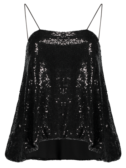 sale Loose Sequined Tank Top - BLACK M Mobile