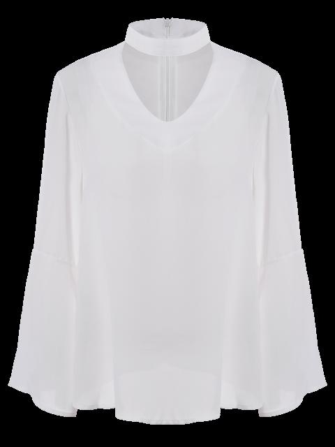 sale V Neck Flared Sleeve Choker Blouse - WHITE S Mobile