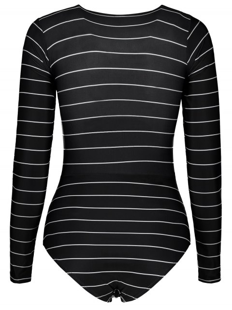 ladies Striped Lace Up Long Sleeve One Piece Swimsuit - BLACK L Mobile