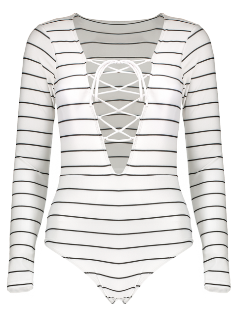 hot Striped Lace Up Long Sleeve One Piece Swimsuit - WHITE S Mobile