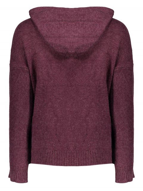 unique Long Sleeve Hoodie Sweater - PURPLISH RED ONE SIZE Mobile