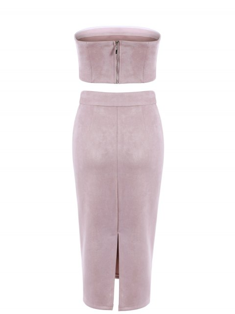 best Suede Bodycon Skirt with Tube Top - PINK L Mobile
