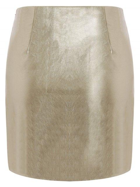 trendy Metal Colour PU Leather Mini Skirt - GOLDEN L Mobile