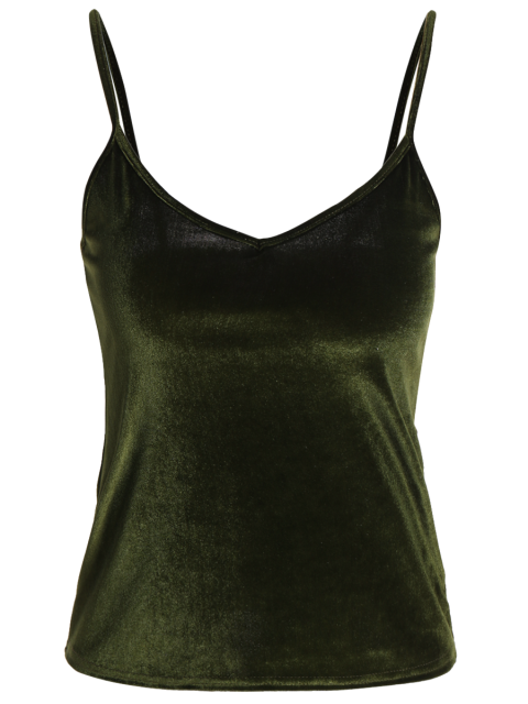 hot Camisole Velvet Top - ARMY GREEN ONE SIZE Mobile