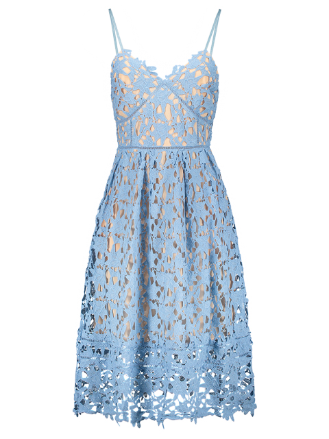 affordable Cami Crochet Flower Midi Dress - AZURE L Mobile