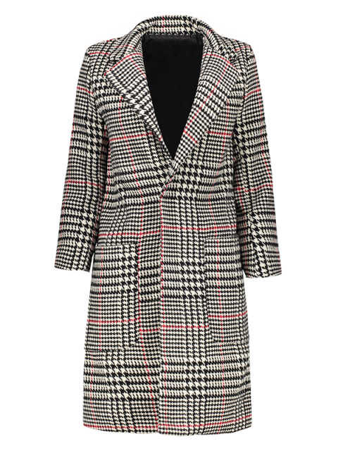 lady Lapel Houndstooth Coat - BLACK AND WHITE AND RED M Mobile