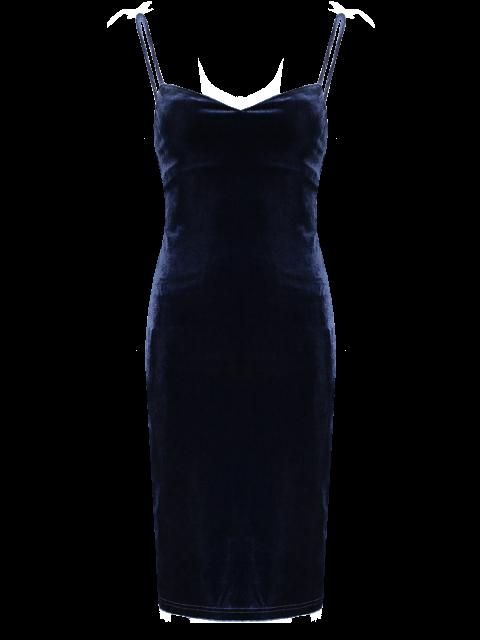 fancy Solid Color Spaghetti Straps Velvet Dress - PURPLISH BLUE ONE SIZE Mobile