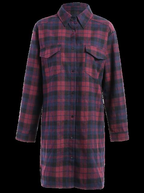 women's Plaid Flannel Shirt Dress With Pockets - COLORMIX M Mobile