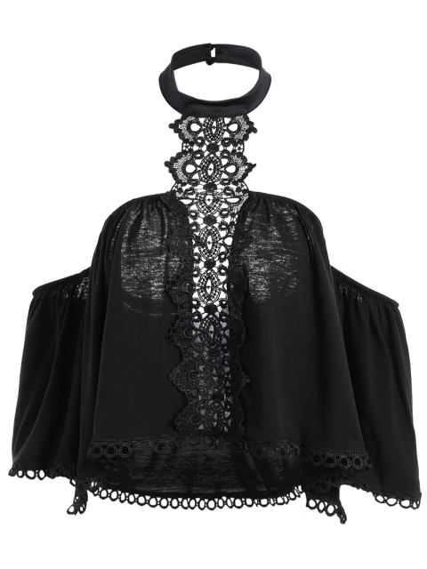 ladies Cropped Choker Off The Shoulder Blouse Belly Shirts - BLACK S Mobile