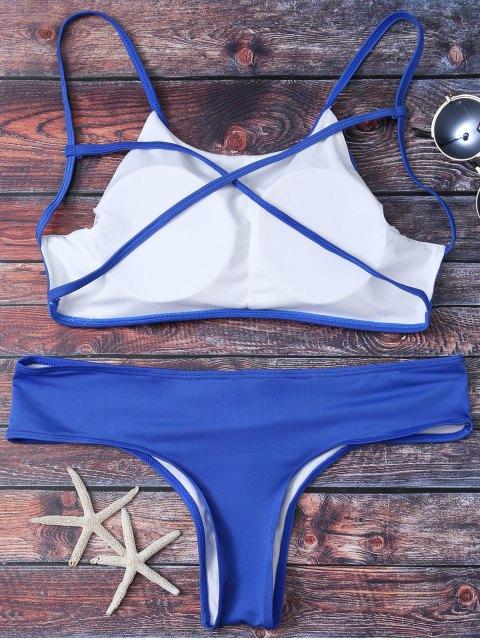 women Cute Padded Criss Cross Bathing Suit - DEEP BLUE S Mobile