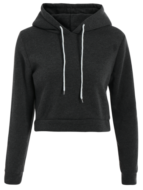 hot Cropped Pure Color Long Sleeve Hoodie - DEEP GRAY L Mobile