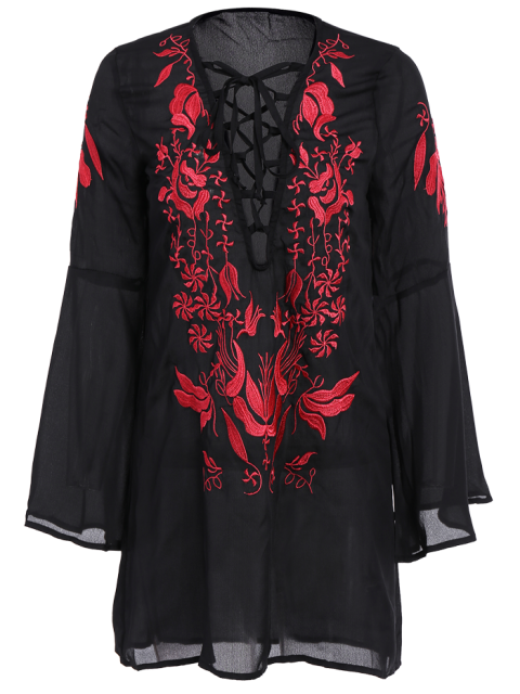 outfit Floral Embroidered Plunging Neck Long Sleeve Dress - BLACK M Mobile
