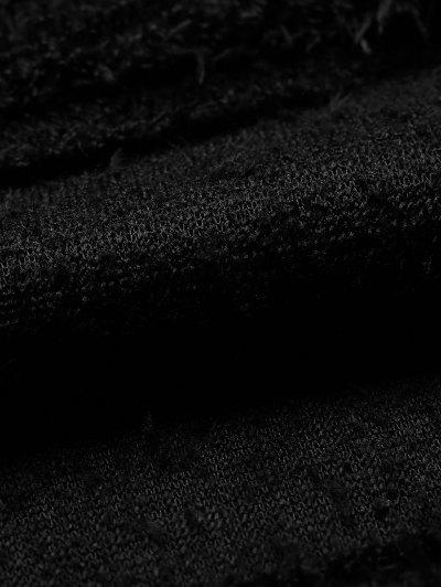 High Neck Fuzzy Cropped T-Shirt - BLACK L Mobile