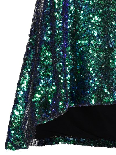 Loose Sequined Tank Top - GREEN M Mobile