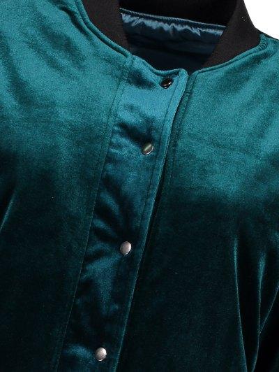 Embroidered Single Breasted Velvet Jacket - PEACOCK BLUE L Mobile