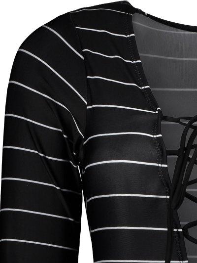 Striped Long Sleeve Lace Up Swimwear - BLACK L Mobile