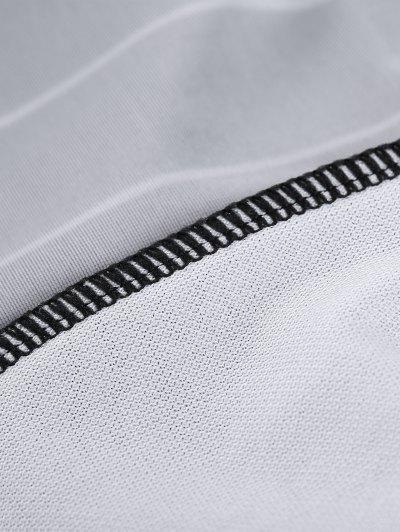 Striped Long Sleeve Lace Up Swimwear - BLACK M Mobile
