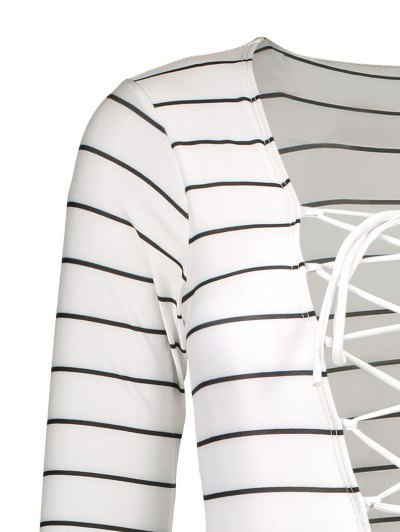 Striped Long Sleeve Lace Up Swimwear - WHITE M Mobile