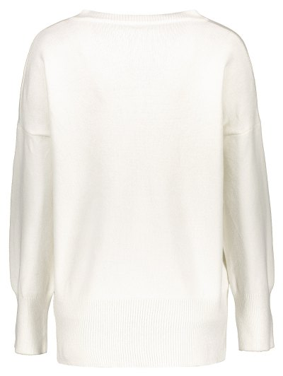 V Neck Long Sleeve Pullover Knitwear - WHITE ONE SIZE Mobile