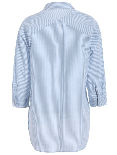 Long Sleeve Striped Lace Up Blouse - BLUE AND WHITE M Mobile