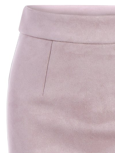 Suede Bodycon Skirt with Tube Top - PINK S Mobile
