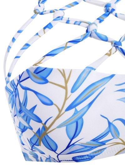 Cut Out Strappy Bikini Set - BLUE XL Mobile