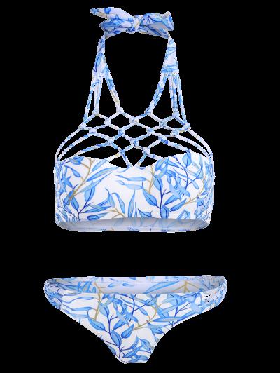 Cut Out Strappy Bikini Set - BLUE M Mobile
