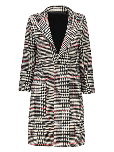 Lapel Houndstooth Coat - Black And White And Red