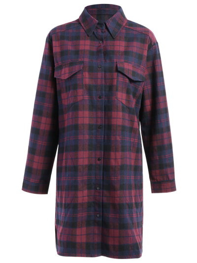 Plaid Shirt Dress With Pockets - COLORMIX L Mobile
