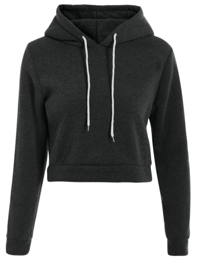 Cropped Pure Color Long Sleeve Hoodie - DEEP GRAY S Mobile