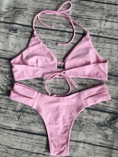 Banded Unlined Halter Bikini - PINK M Mobile
