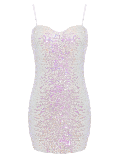 Mini Slip Sequins Dress - WHITE ONE SIZE Mobile
