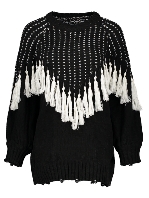 Pullover Sweater With Tassels - Black