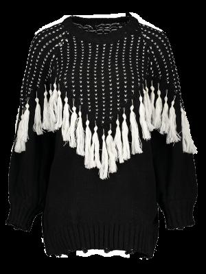 Suéter Con Borlas - Negro
