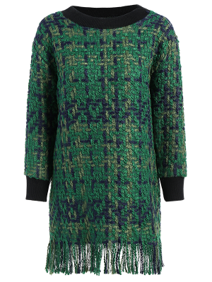 Heathered Fringed Sweater Dress - Green