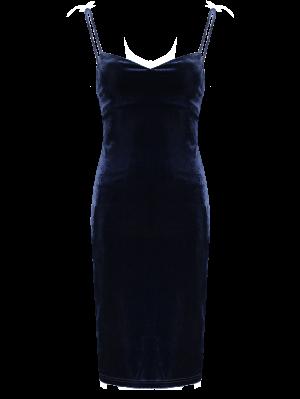 Solid Color Spaghetti Straps Velvet Dress - Purplish Blue
